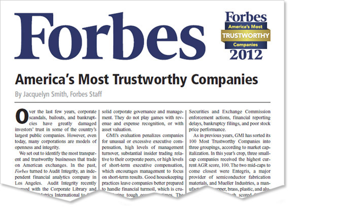 First Interstate Named Most Trustworthy by Forbes